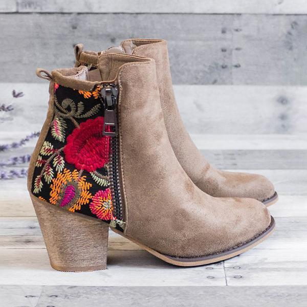 Zoeyootd Vintage Embroidered Chunky Heel Booties