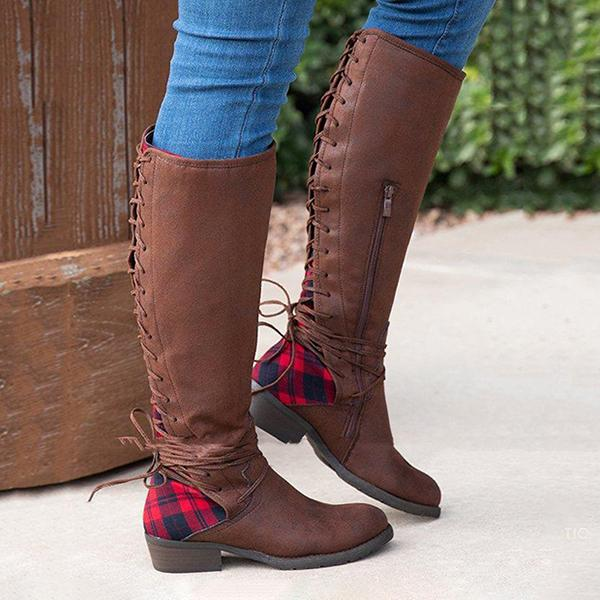 Bonnieshoes Outdoor Round Toe Back Side Lace-Up Chunky Heel Knee Boots