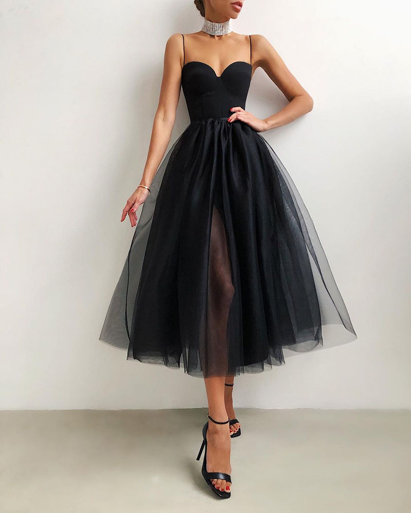 Pure Color Mesh Sling Retro Casual Party Dress