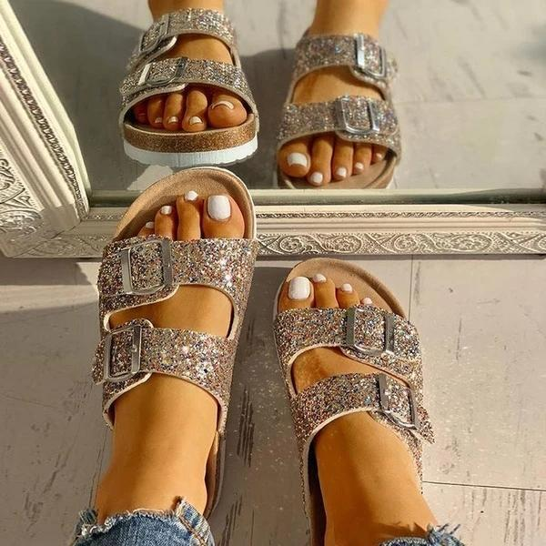 Bonnieshoes Flip Flop Flat With Buckle Slip-On Summer Casual Slippers
