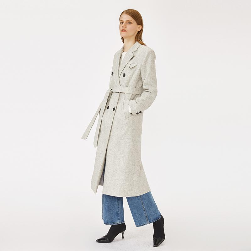 OEM and ODM high quality woolen double breasted belted woman long winter light gray coat-Casual Outwear 2.11