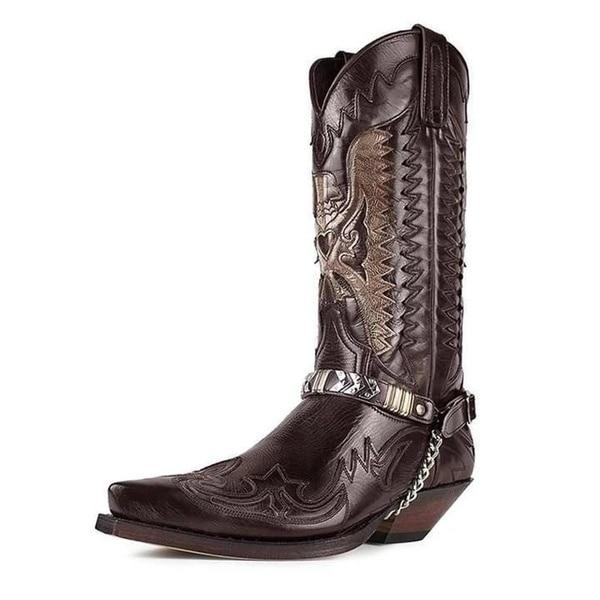 【🚢FREE SHIPPING🚢】Unisex Pointed-toe Carved Motorcycle Boots