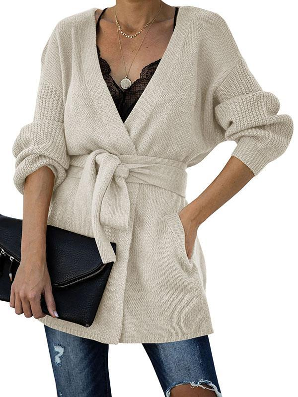 Bonnieshoes Lace-Up Waist Slimming Sweater Cardigan