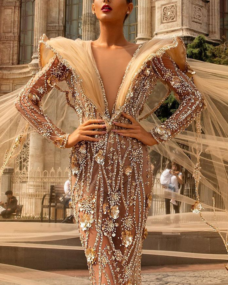 Sequined V-Neck Perspective Evening Gown
