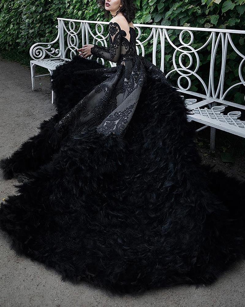 Fashion Long-Sleeved Feather Big Evening Dress