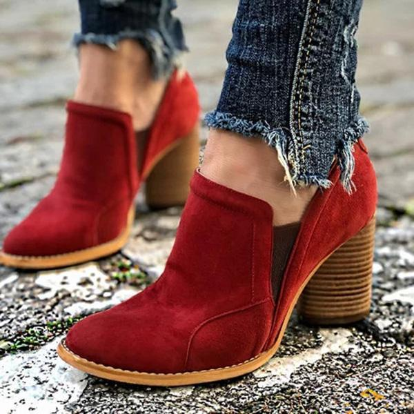 Zoeyootd Ankle Slip On Casual Chunky Boots