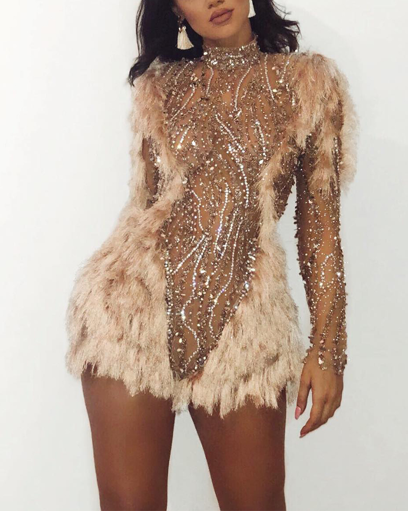 Sequined Feather Mini Evening Dress