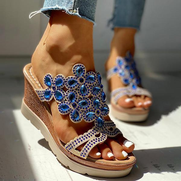 Mokoshoes Studded Platform Wedge Casual Slingback Sandals