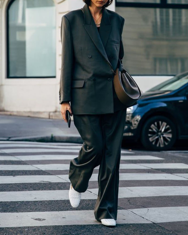 Solid Color Double-breasted Button Loose Pants Two-piece Suit