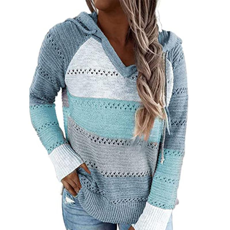 Women Knit Hollow Out Color Block Hoodie Sweatshirt