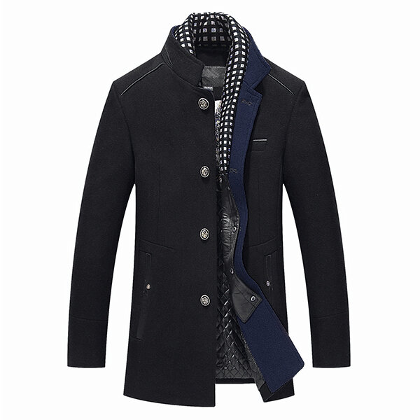 Mens Wool Detachable Scarf Collar Business Casual Slim Fit Overcoats