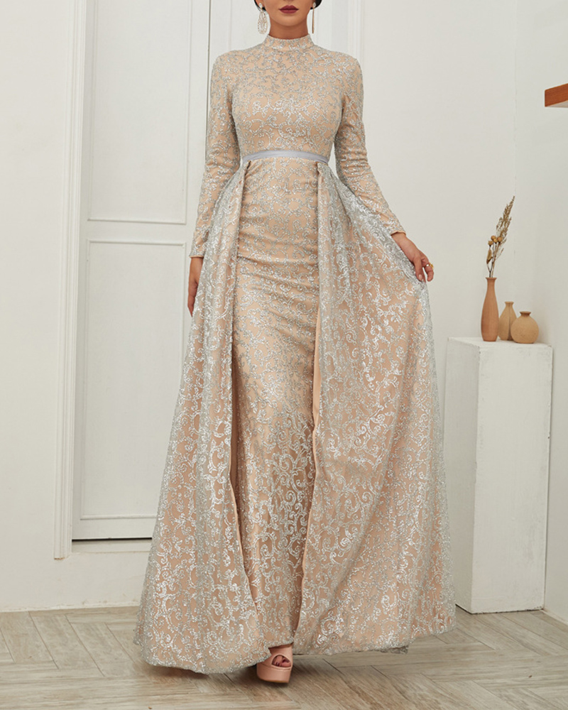 High-Necked Long-Sleeved Shiny Powder Evening Dress