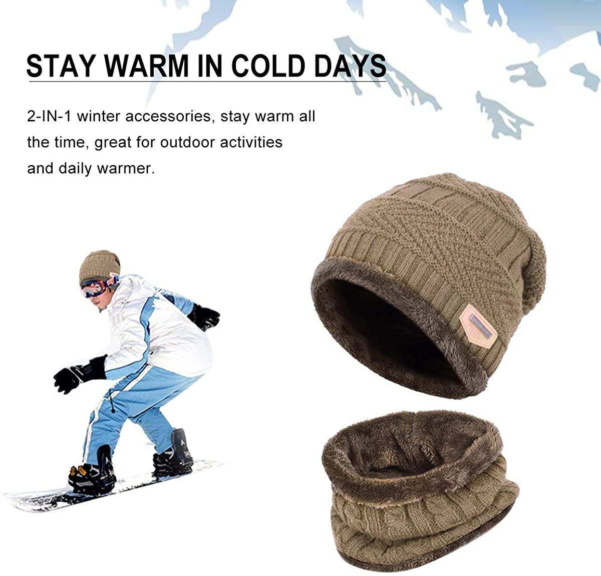 HIDARLIN Winter Beanie Hat and Circle Scarf Set Warm Knit Hat for Men and Women