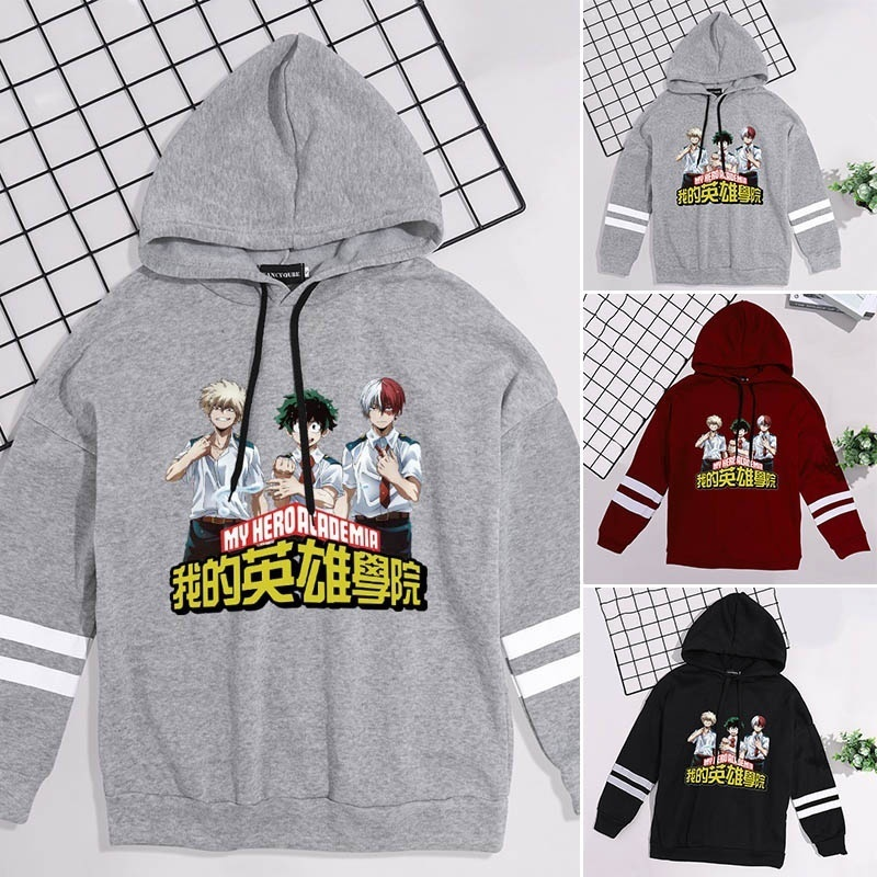 New Fashion Women Funny Cool Boku No Hero Academia Japanese Anime Printed Hoodies My Hero Academia Striped Hooded Sweatshirt Pullover Tops Creative