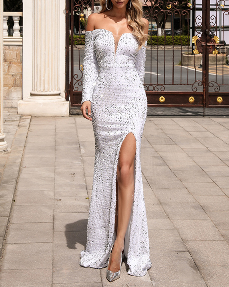 Fashion Word Collar Off-The-Shoulder Sequin Evening Dress