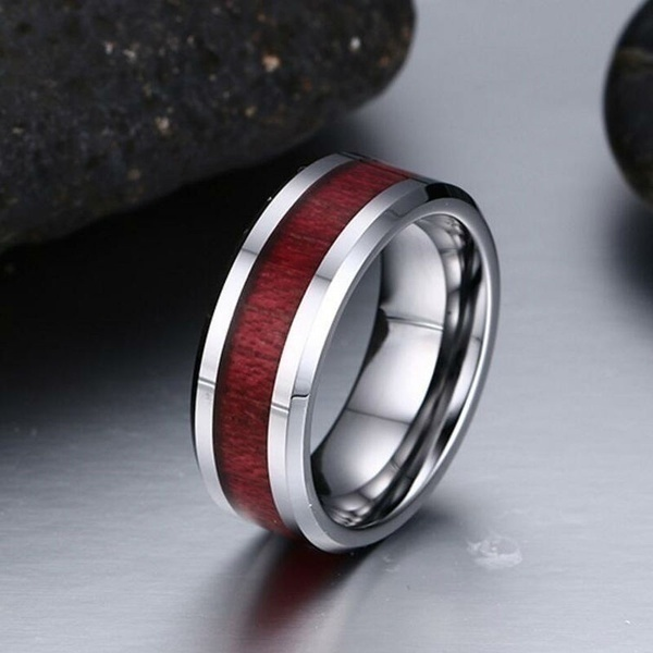 Size 5-12 Charm Couples Rings 316L Titanium Steel Men's Ring Ruby Women's Wedding Bands Ring Valentine's Day Gifts
