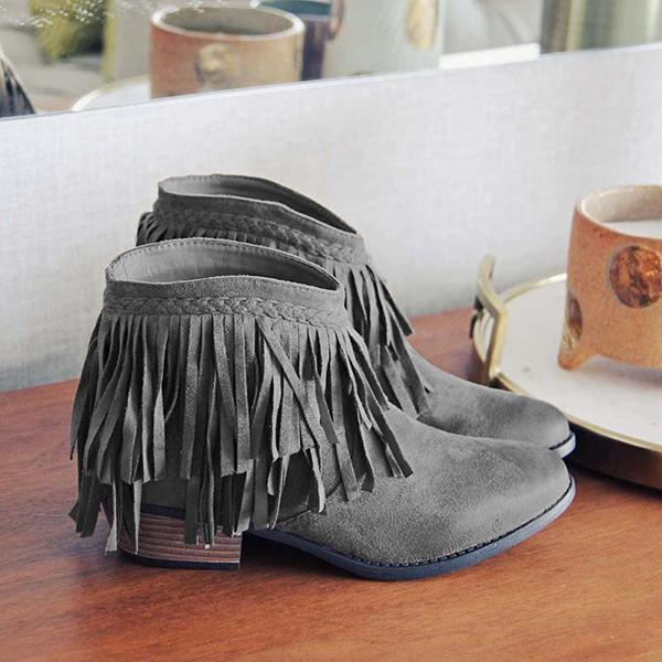 Mokoshoes Round Toe Casual Chunky Heel Tassel Ankle Boots