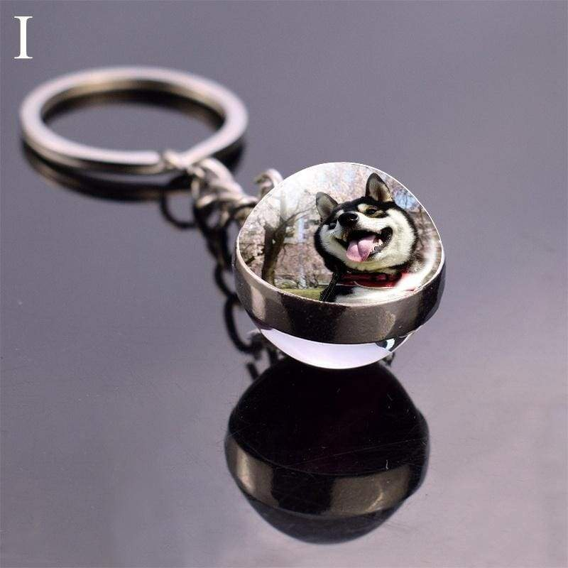 Siberian Husky Keychain Dog Jewelry Glass Ball Keychain Animal Key Chain Keyrings Dog Key Chain Dog Lovers Gift