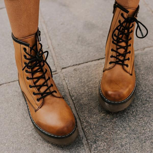 Bonnieshoes Daily Outdoor Lace-up Low Heel Boots