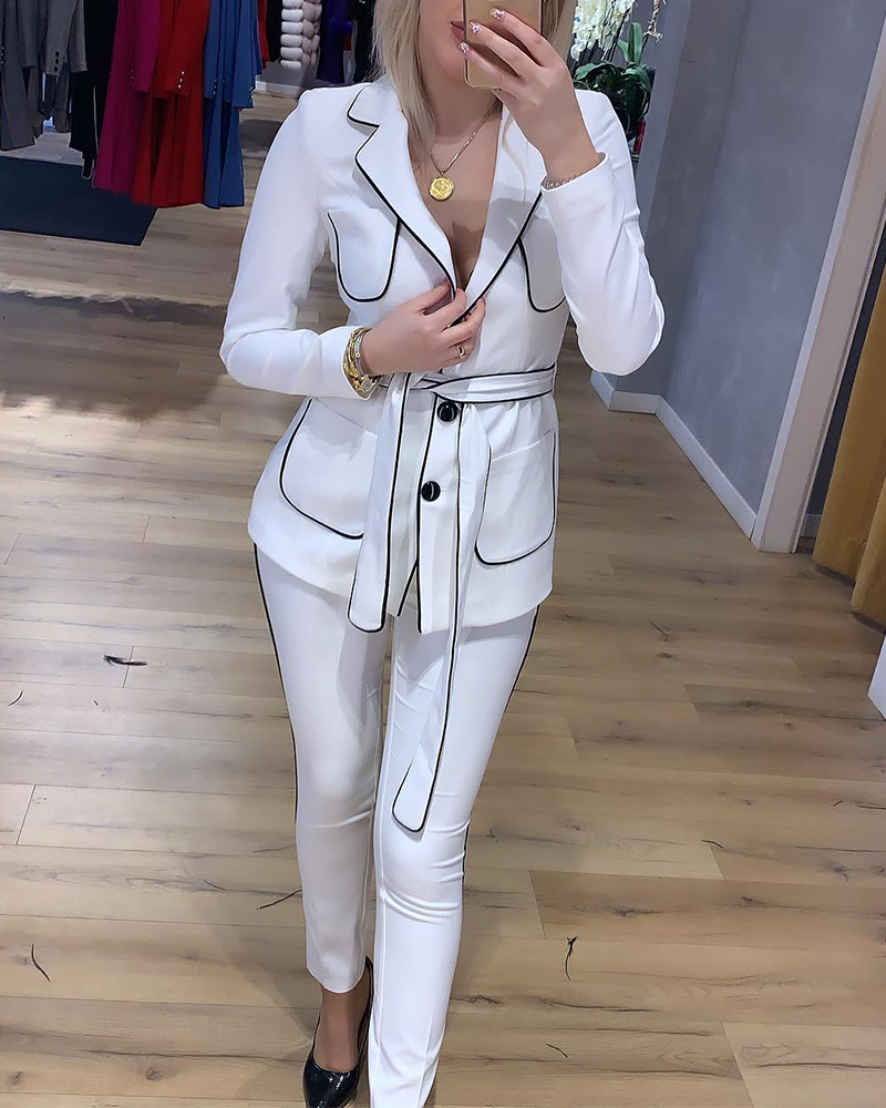 Lapel Casual Pants Two-Piece Suit