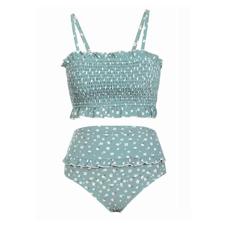Flowers Printed High Waisted Triangle Two Piece Swimsuits