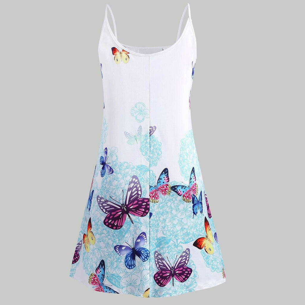 2020 New Plus Size Womens Summer Strappy Butterfly Vest Tops T Shirt Loose Mini Dress