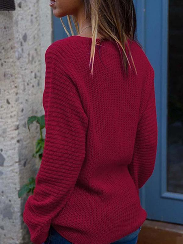 Mokoshoes Solid Deep V Long Sleeve Pullover Sweater