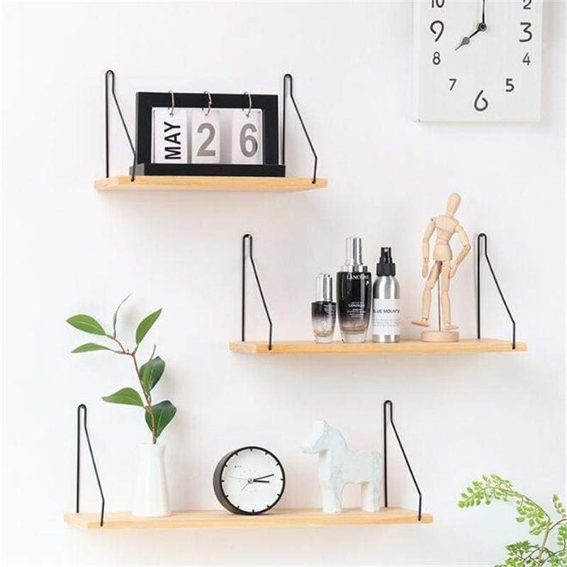 Minimalist Wall Mounted Shelf Wooden Wall Hanging Holder Household Storage Rack Home Decoration (Only Shelf)