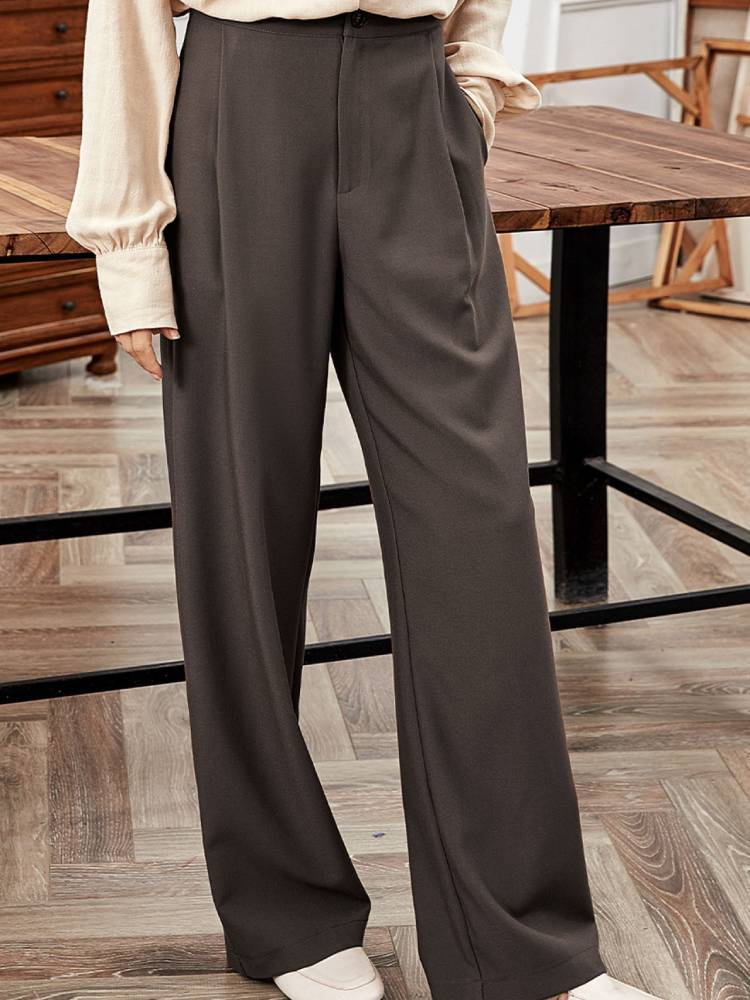 Women Brown High Waisted Loose Suit Pants