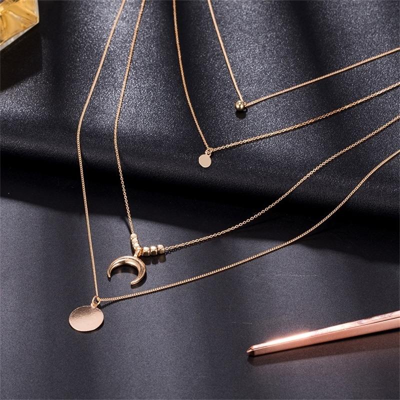 New Fashion Long Link Chain Multi-layer Necklace Party Jewelry Choker Beaded Crescent Moon Bell Round Pendant Gold Necklaces Woman