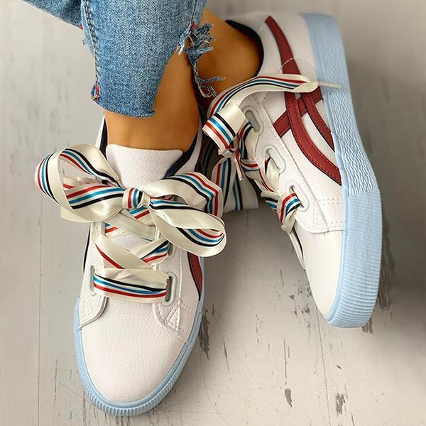 Mokoshoes Colorful Ribbon Lace-Up Casual Sneakers
