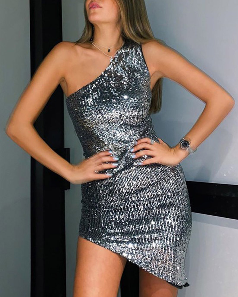 One-Shoulder Sequin Irregular Hem Sleeveless Mini Evening Dress