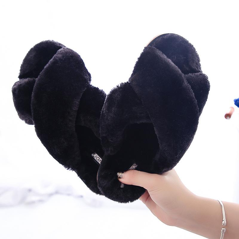 Women's fashion criss cross furry slippers winter warm house shoes solid color