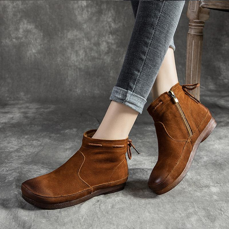 Women Genuine Leather Retro Lace-up Flat Soft Boots