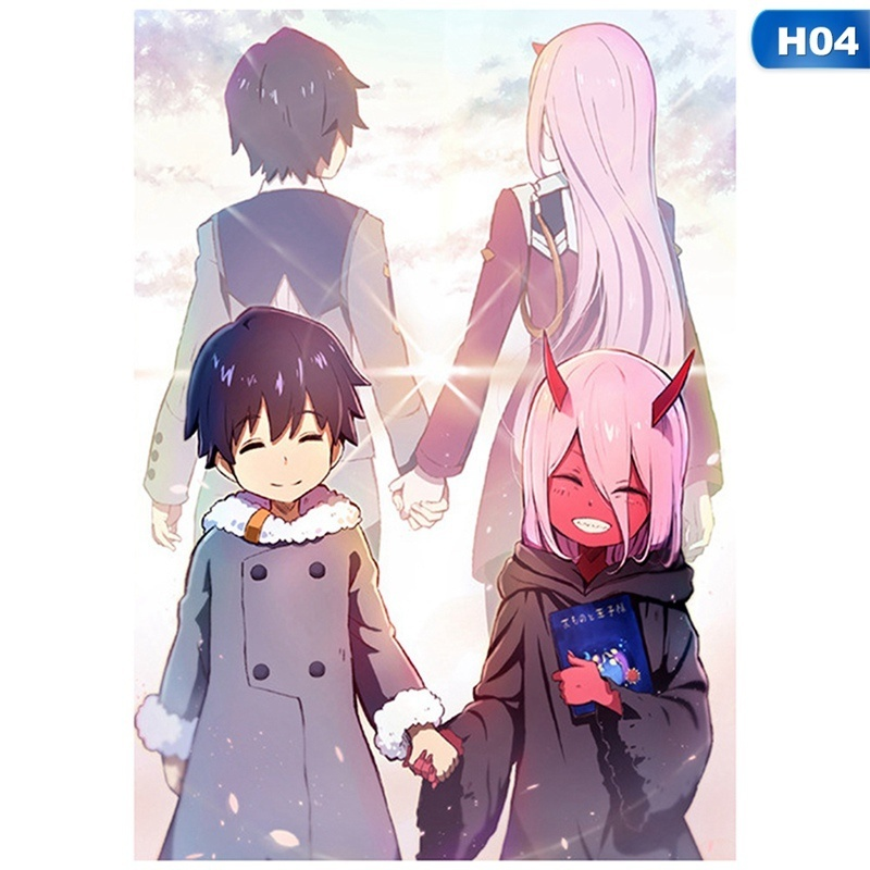 7 Styles 1pcs Anime Darling In The Franxx Stickers Photo Cards Posters