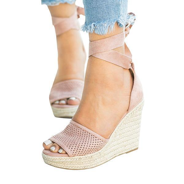Faddishshoes Espadrille Lace Up Wedge Braided Sandals