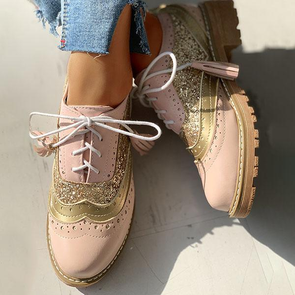 Twinklemoda Lace-Up Sequins Insert Chunky Heeled Boots