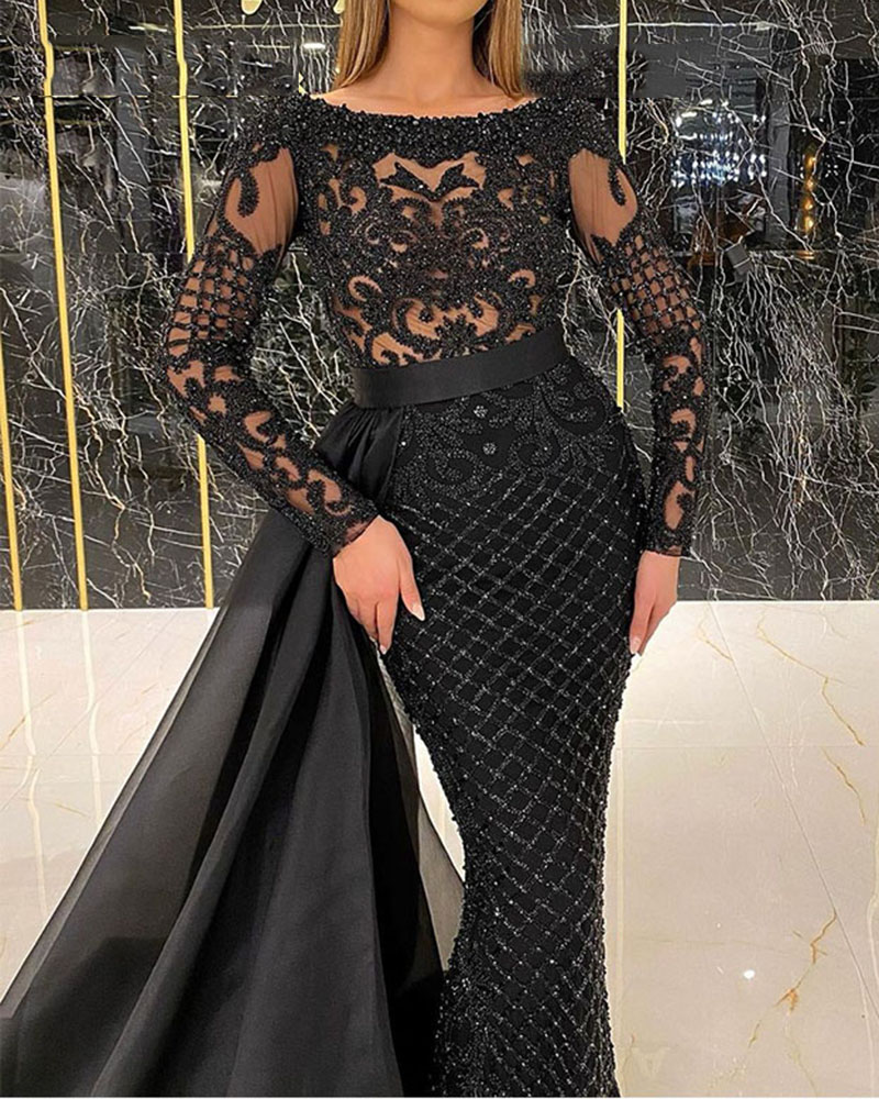 Pattern Sequined Long Sleeve Evening Gown