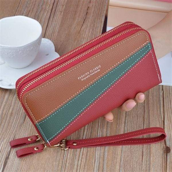 Double Zipper Large Capacity Womens Long Wallets PU Leather Phone Bag Money Coin Pocket Card Holder Female Stitching Hit Color Wallets Purses  4 Colors