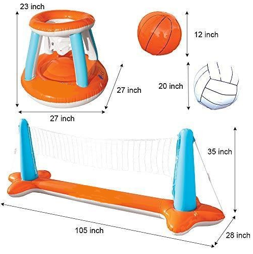 Inflatable Pool Float Set Volleyball Net & Basketball Hoops