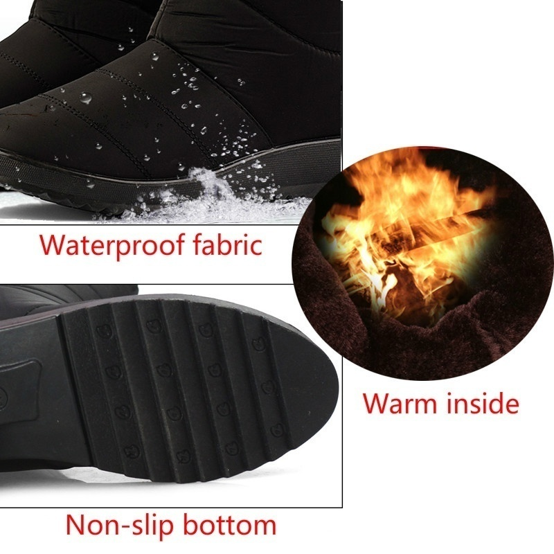Winter Boots for Women Snow Ankle Boots Tassel Waterproof Warm Shoes Plus Size 35-44