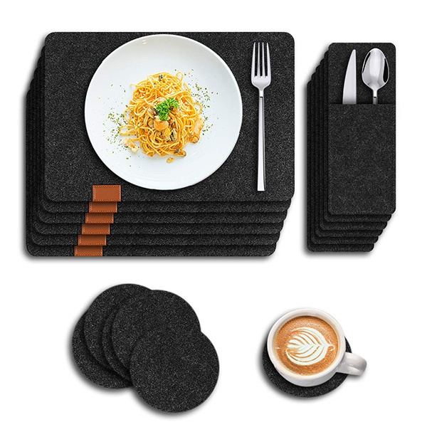 Washable placemats, placemats, set of 3, heat-resistant place mats against growth and chafing, including placemats (44 * 30cm), coasters, cutlery bags, suitable for kitchen, family