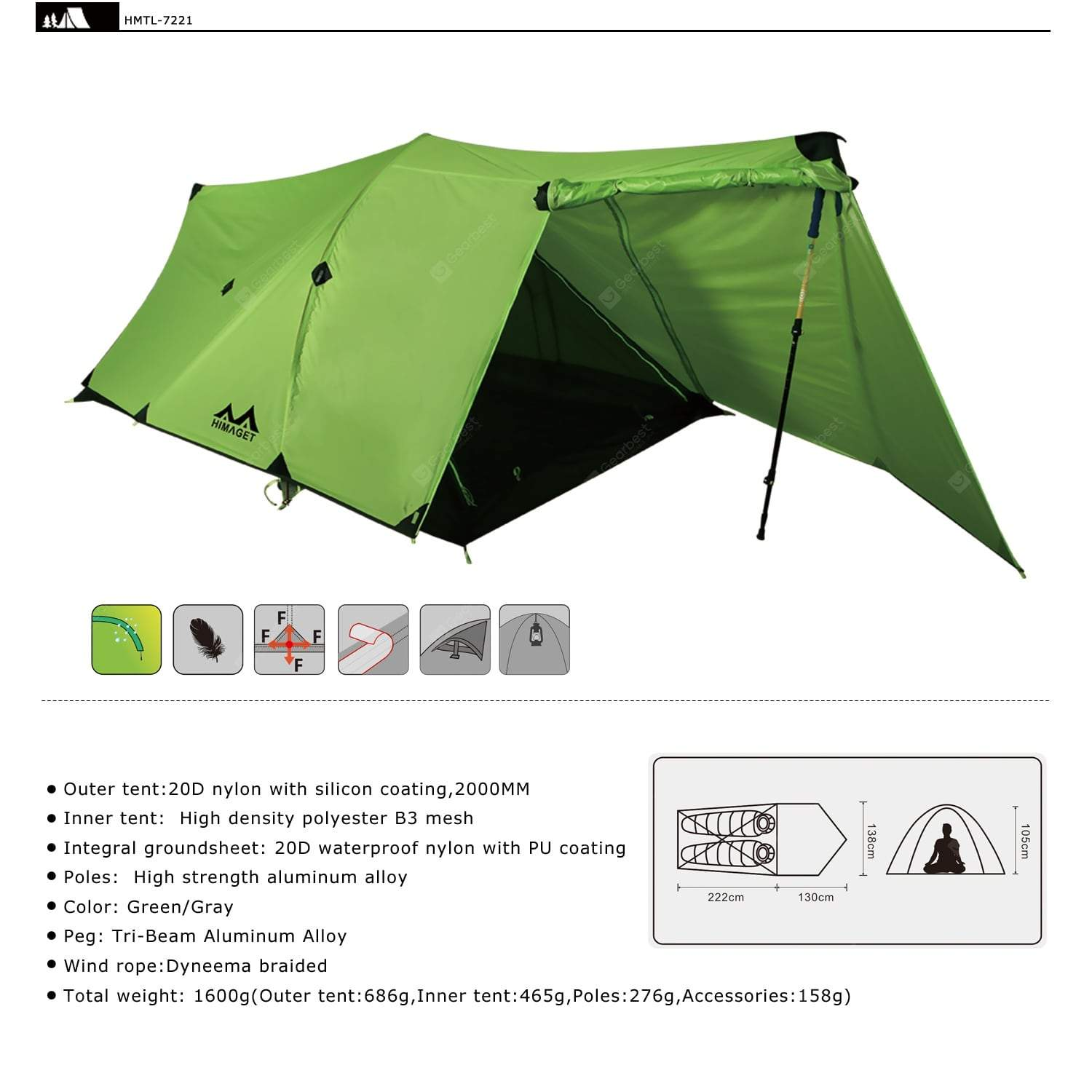 20D Nylon Two 2 Person Double Men Tunnel Tent Ultralight Backpacking Tent 3 Season For Camping
