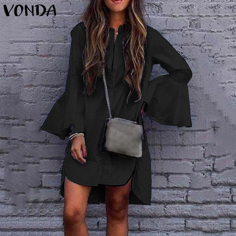VONDA Women Solid Color Asymmetric Blouse Tops Casual Loose Flare Sleeve Mini Dress