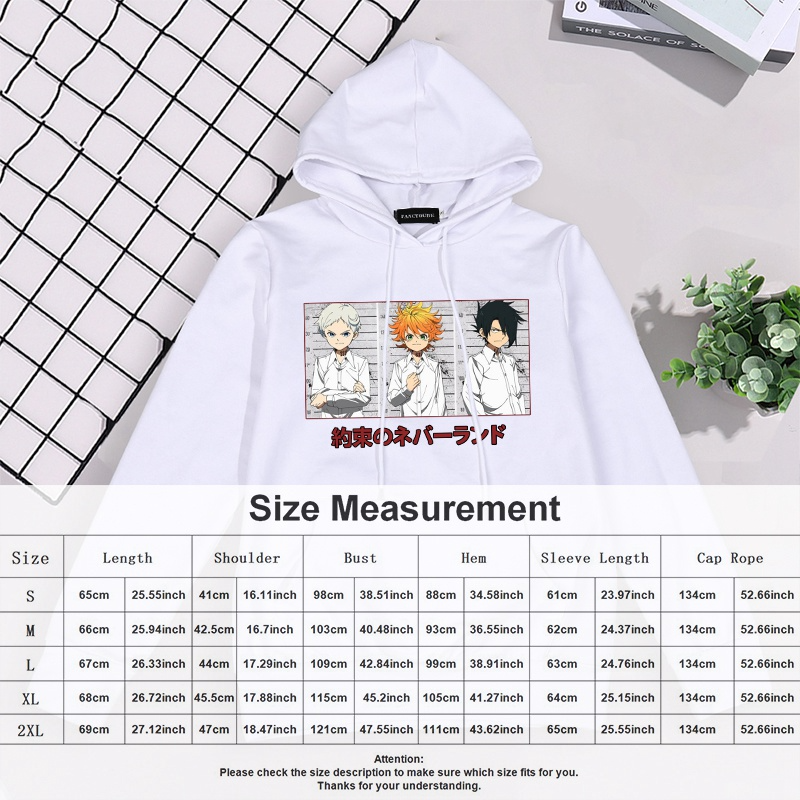 The Promised Neverland Hoodies Oversized Print Pocket Sweaters Women Casual Long Sleeve Pullover Hooded Sweater Tops Dropship