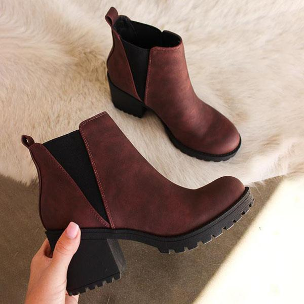 Mokoshoes Patent Leather Slip-On Ankle Boots