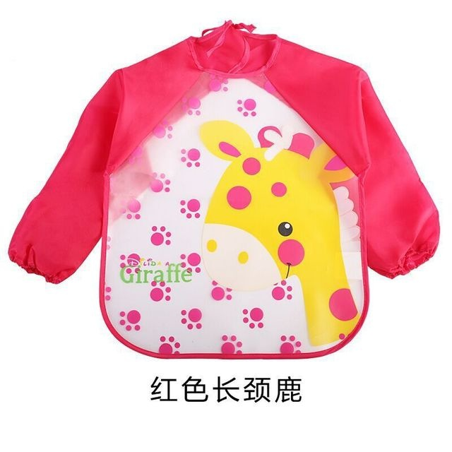 Cute Long Sleeved Bib Waterproof Bibs for Babies and Toddlers with Pocket (12-36 Months)