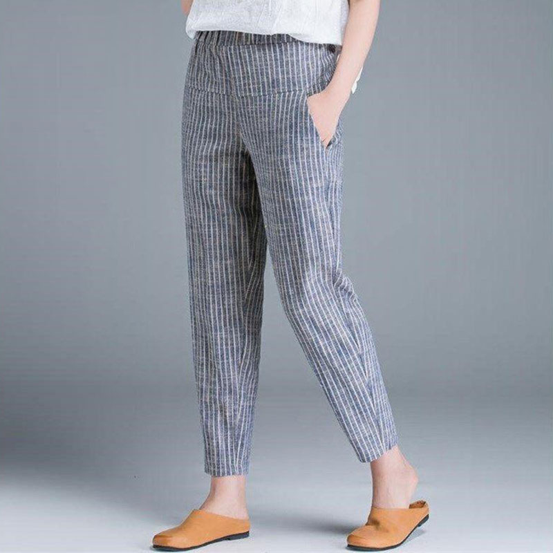 New Arrival Summer Women Pants Plus Size Korea Fashion High Waist Thin Casual Harem Pants Striped Cotton Linen Trousers