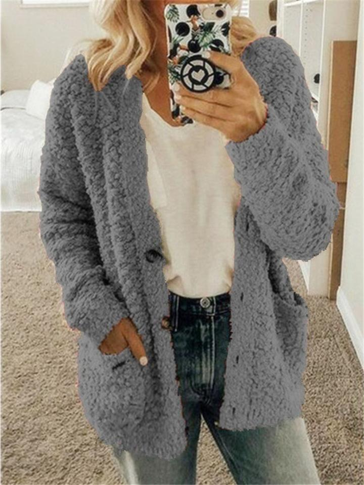 Winter Women Loose Comfort Pocketed Cardigan Coat