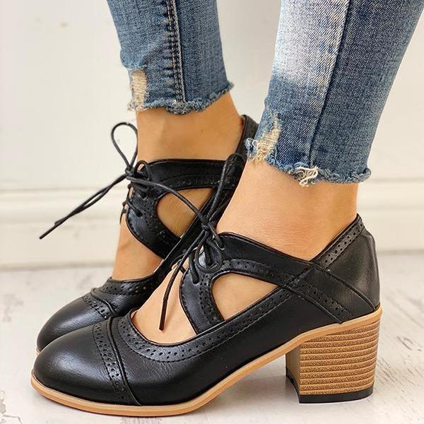 Zoeyootd Lace-Up Cut Out Chunky Heels